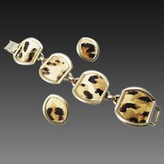 Bergere animal print  bracelet and earrings set