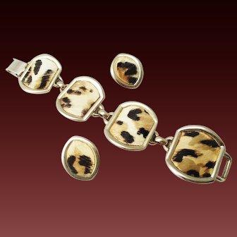 Bergere animal print  bracelet and earrings set