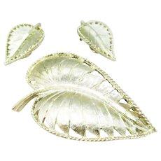 BSK goldtone leaf and earrings set
