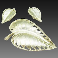 BSK goldtone leaf and earrings set