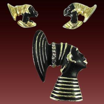 Coro African Heads Pin and Earrings