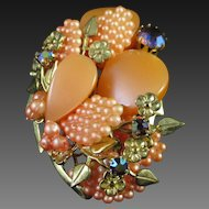 Peachy Thermoset Layered Floral Pin