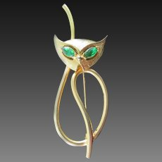 Emmon's  Siamese cat pin with green rhinestone eyes