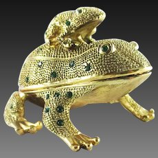 Frogs trinket box with magnifying glass