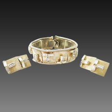 Hobe rhinestone baguette bracelet and earrings