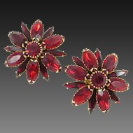 JUDY LEE blaze red layered rhinestone earrings