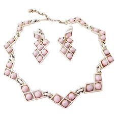 KRAMER pink thermoset necklace and earrings
