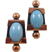 MATISSE Renoir Blue enamel copper earrings