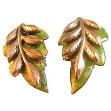 "Matisse  ""Laurel"" green and copper leaf earrings"