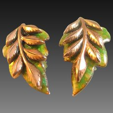 "Matisse  ""Laurel"" green and copper leaf earrings"