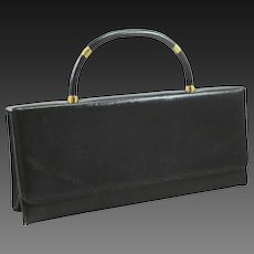 CLEARANCE 1950s Black Textured Gloss Purse