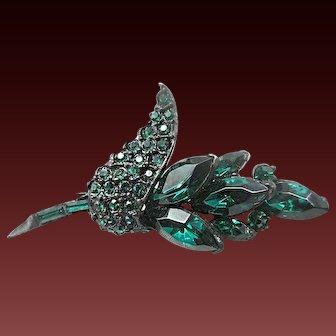 PELL green rhinestone leaf brooch