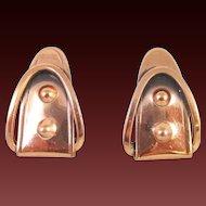 Unusual RENOIR copper Buckle Earrings