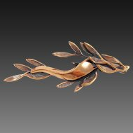 RENOIR Copper abstract sea weed branch pin