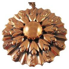 Large Renoir floral leaf pendant necklace
