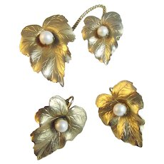 """Sarah Coventry """"Chit Chat"""" Pin and Earrings Set"""
