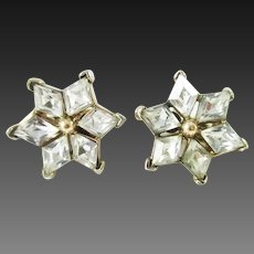 Crown Trifari Clear Rhinestone star earrings
