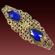 Very Vintage Filigree belt buckle with large blue stones