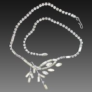 A-symmetrical 1950s rhinestone necklace