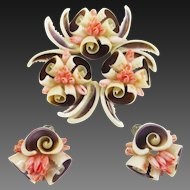 Florida Souvenir Shell Art Pin Earrings Set