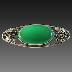 Vintage Sterling Green Stone Bar Pin