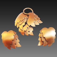 Layered copper leaf pin and earrings
