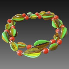 Lime and Orange dimensional necklace