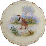 T&V Tressemann & Vogt Limoges Grouse Game Bird Cabinet Plate, Artist Signed Robert