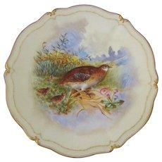 T&V Tressemann & Vogt Limoges Grouse & Young Game Bird Cabinet Plate, Artist Signed Robert