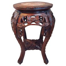 Early 20th C. Chinese Carved Rosewood Pink Marble Top Stand Table
