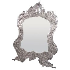 Antique Germany Hanau Silver Repousse Table Top Dressing Mirror with Easel Back