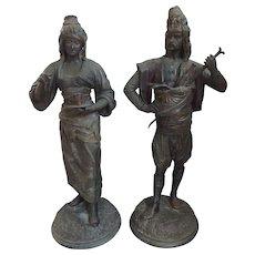 Pair of Louis Hottot French Polychromed Spelter Moorish Arabic Man & Woman Figures