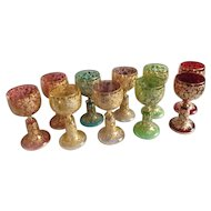 """10 Moser Bohemian Art Glass Wine Glasses with Gilt and Enamel Detail, 5-1/2""""H"""