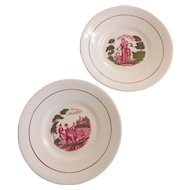 "Pair of Mulberry Bat Printed Soft Paste Porcelain 8"" Plates with Polychrome Detail"