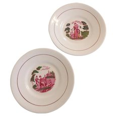 """Pair of Mulberry Bat Printed Soft Paste Porcelain 8"""" Plates with Polychrome Detail"""