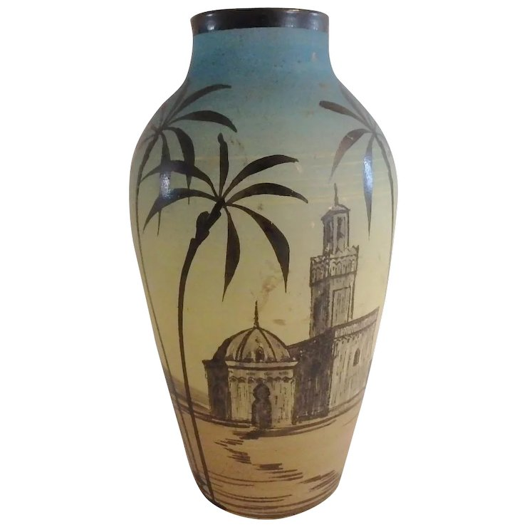 Signed H Martin French Art Glass Hand Painted Vase With Middle