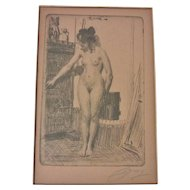 Antique Pencil Signed Anders Zorn Etching of Standing Nude Woman, on Sepia Paper