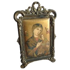 Orthodox Icon of Our Lady of Perpetual Help in Galb Email French Brass Easel Frame