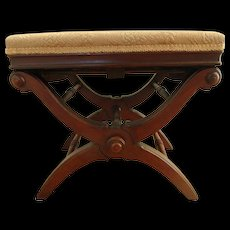 1871 Victorian Renaissance Revival Walnut Adjustable X Taboret Piano Stool