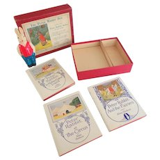 1921 The Peter Rabbit Box with 3 Books by Alma Hudson and Celluloid Rabbit Toy