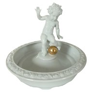Schaubach Kunst Germany Porcelain Centerpiece Bowl with Cherub Putti and Gold Ball