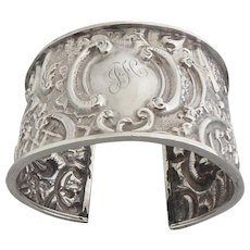 Antique Victorian 1898 English Sterling Silver Heavily Embossed Cuff Bracelet