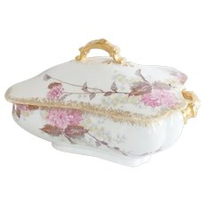 Large Haviland & Company French Porcelain Tureen with Hand Painted Flowers - Red Tag Sale Item