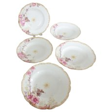 5 Haviland & Company French Porcelain Rimmed Soup Bowls with Hand Painted Flowers - Red Tag Sale Item