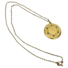 Antique Gold Plated Locket with Rhinestones on Chain with Watch Chain Clasp