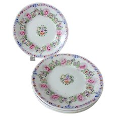 "4 Antique 7-1/4"" Soft Paste Porcelain Plates with Polychrome Rose and Bird Detail"