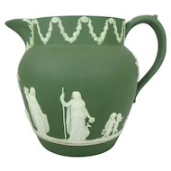 "19th C. Olive Green Wedgwood Jasperware Pitcher, 5-5/8"" H"