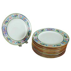 """12 Antique Mintons Pink & Green Trophy Pattern 9"""" Plates"""