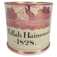 Large Early 19th C. Staffordshire Pink Lustre Mug Inscribed Zillah Hainsworth 1828