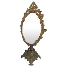 "Antique 19th C. Cast Iron Table Top Vanity Swivel Beveled  Mirror, 18""H"